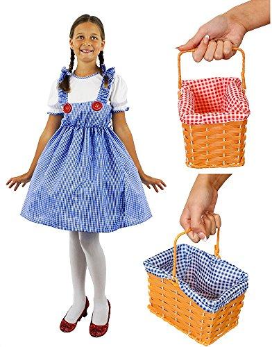 I LOVE FANCY DRESS LTD Dorothy KOSTÜM VERKLEIDUNG MÄDCHEN Kansas=NUR DAS Kleid ODER DAS Kleid+Korb MIT ROTEM ODER BLAUEN KARIERTEM Stoff= Kleid IN DER GRÖSSE -SMALL