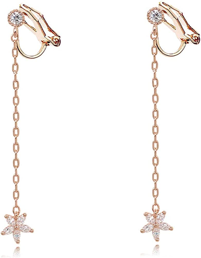 Small Flower Clip on Dangle Earrings non Pierced Soft Pads Rhinestone Tassel Women Rose Gold Plated