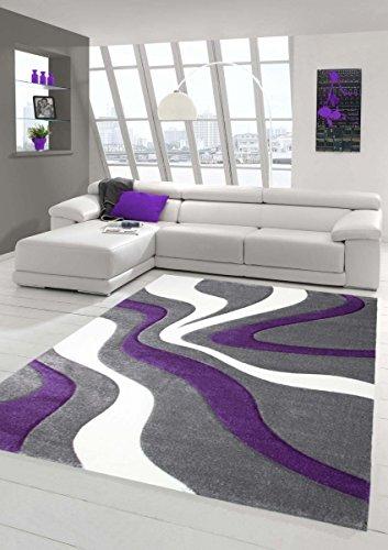 Designer Teppich Moderner Teppich Wohnzimmer Teppich Kurzflor Teppich mit Konturenschnitt Wellenmuster Lila Grau Weiss Größe 80x150 cm