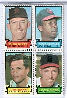 1969 Topps Baseball Stamps Dick Dietz-Frank Robinson-Jim Nash-Dennis Menke 4 Stamp Panel