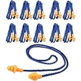 TOOGOO 10 Piezas De Tapones De Oídos Suaves De Silicona De Seguridad - Protectores Auditivos, Manguitos con Cable - Reducción De Ruido Para El Trabajo en Casa Para Dormir Azul Naranja