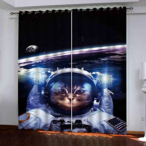 xmydeshoop Vorhang Blickdicht - 3D Druck Weltraum-Astronauten-Katze - Ösenvorhänge - Wärmeisolierte...