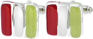 Murano Glass Venetian Classic Cufflinks - Italian Flag Colors