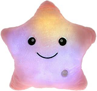 elfishgo Creative Twinkle Glowing Stars Shape Plush Throw Pillow, LED Night Light Pillow Cushions Stuffed Toys Gifts for Kids, Christmas (Pink)