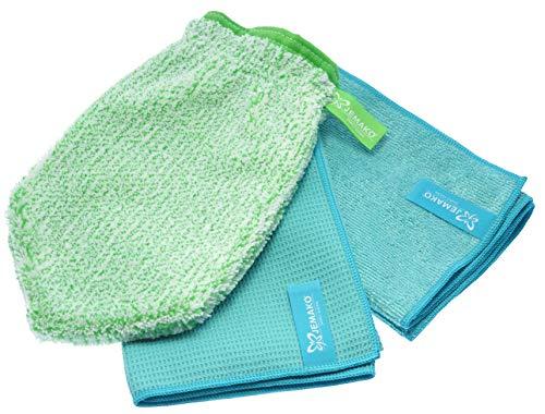 Jemako - Set di 3 panni per la pulizia delle finestre, 45 x 60 cm, 40 x 45 cm Sinland - Rete per bucato a maglia fine