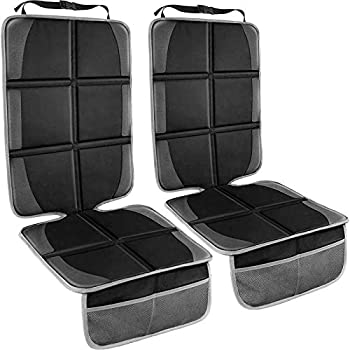 Car Seat Protector 2 Pack Large Auto Car Seat Protectors for Child Car Seat Thick Carseat Seat Protector with Organizer Pockets Vehicle Dog Cover Pad for SUV Sedan Truck Leather Seats