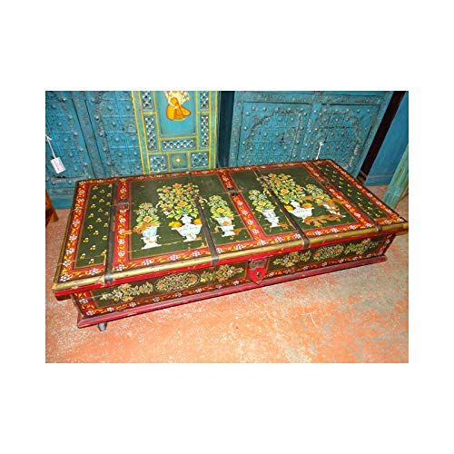 int. d'ailleurs - Coffre sur roulettes ou Table Basse Indienne Peinte à la Main - MP264
