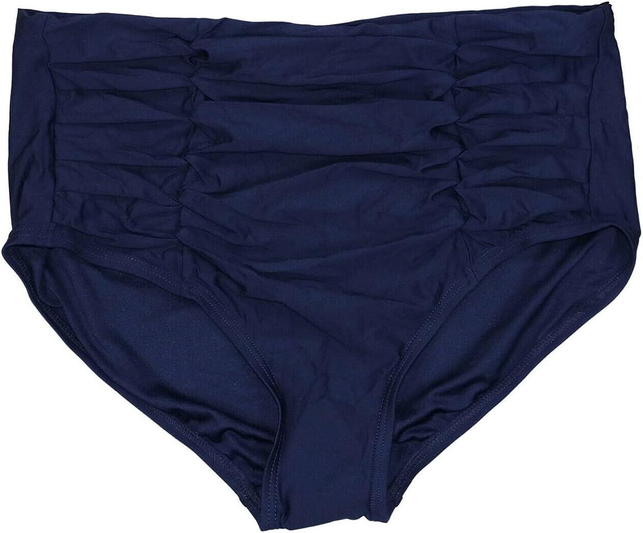 DKNY Women's Ruched High-Waist Bikini Bottom Navy Blue XX-Large