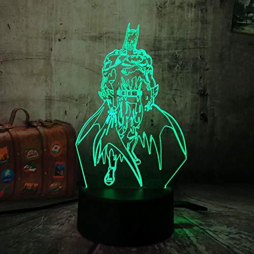 Wangzj Luz nocturna para niños 3D ilusión luz nocturna/botón táctil 3d ilusión óptica de mesa lámpara de mesa / regalo de cumpleaños de Halloween /