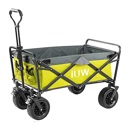 Chariot utilitaire portatif pour chariot pliant extérieur robuste, avec poignée rétractable, chariot de plage tout terrain roulant pour matériel de camping, accessoires de plage, épicerie