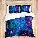 Funda nórdica, espacio exterior Galaxia Estrellas en el espacio Planetas astronómicos celestiales en el universo Vía Láctea, Juego de cama de microfibra de calidad Ultra Suavidad Cómodo Diseño moderno