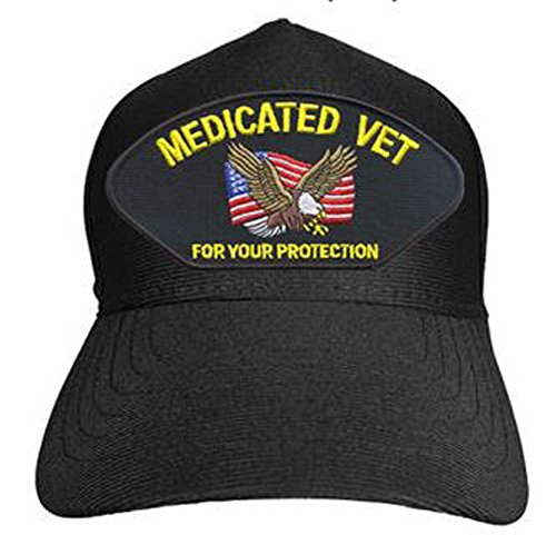 Medicated Vet for Your Protection Baseball Cap. Black. Made in USA