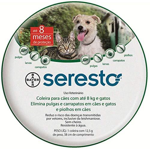 Coleira Antipulgas e Carrapatos Bayer Seresto para Cães e Gatos de até 8kg