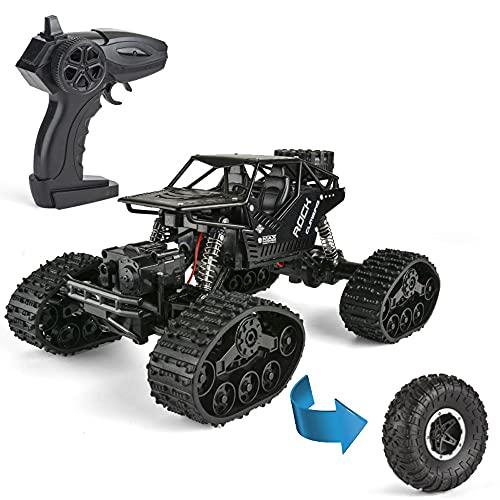 Nsddm 1:16 Coche RC, Camión Control Remoto 2.4Ghz,Camión Escalada Todoterreno 4x4 para niños, Rock Crawler con Dos baterías Recargables, Resistente al Agua para Todo Terreno, Coche Juguete eléctrico