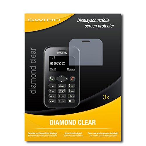 SWIDO 3 x Schutzfolie Simvalley Mobile Pico RX-484 Bildschirmschutz Folie DiamondClear unsichtbar