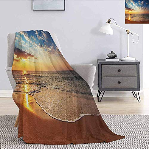 Luoiaax Ocean Bedding Flannel Blanket Cloudscape Over The Sea Honeymoon Travel Destination Sunrise Panoramic Shot Super Soft and Comfortable Luxury Bed Blanket W60 x L50 Inch Blue Yellow Brown