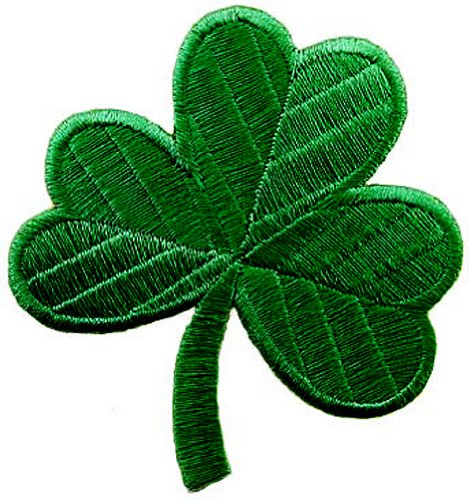 Irish Clover Dark Green Embroidered Patch Lucky Shamrock Iron-On Ireland Emblem