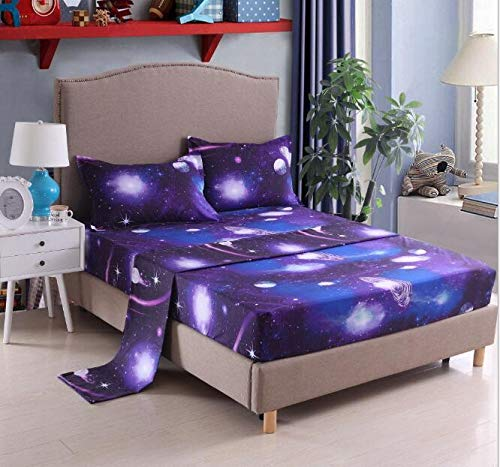 RORA 3D Starry Sky Series Four-Piece Nebula Bed Sheet A Bed Linen Set Full of Dreamy Watercolor Paint Splashes(Twin,Starry Sky)