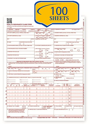 New CMS 1500 Claim Forms - HCFA (Version 02/12) (100 Sheets)