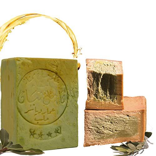 E4U - Sapone originale Aleppo, 80% in olio d'oliva, 20% in olio di alloro, circa 200 g; originale, pH 8, per capelli, per doccia, con proprietà detox, vegano, tagliato a mano