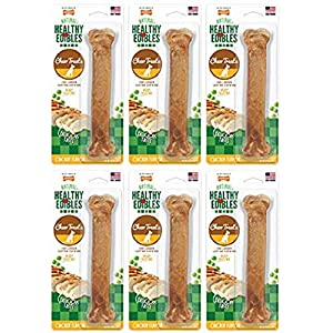 (6 Pack) Nylabone Healthy Edibles Dog Chew Treat Bones For Large Dogs Up To 50 Pounds (Chicken)