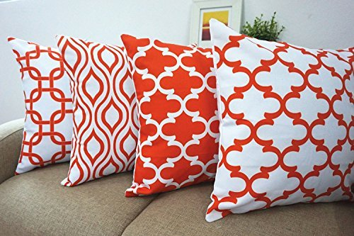 Howarmer Canvas Orange Throw Pillow Covers Set of 4,Accent Pattern,18 x18-Inch