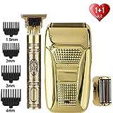 XKMY Recortadora y afeitadora de pelo para hombre+afeitadora eléctrica T9 Calviciada cortadora de pelo cortadora de pelo de peluquero sin cuerda para barba (color: juego de 2)