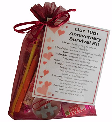 SMILE GIFTS UK 10th Anniversary Survival Kit Gift (Great novelty present for tenth anniversary or wedding anniversary for boyfriend, girlfriend, husband, wife)