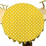 Mantel redondo de lunares con diseño de lunares en fila sobre telón de fondo de color soleado para niñas Boho Decor de fácil limpieza amarillo blanco diámetro 71 pulgadas