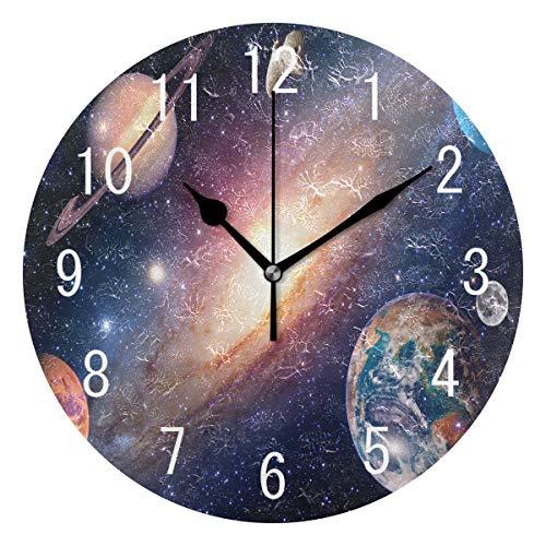 Use7 Wanduhr, rund, Acryl, Motiv Galaxie, Weltraum, Planet