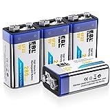 EBL Piles Rechargeables 9V en NI-MH à Longue Durée, 6F22 Lot de 4 9V Piles Rechargeabels à 1200 Cycles pour Les Multimesureurs