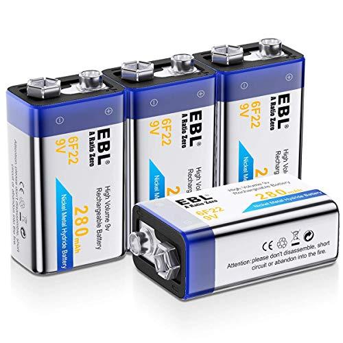 EBL Piles Rechargeables 9V en NI-MH à Longue Durée, 6F22 Lot de 4 9V Piles Rechargeabels à 1200 Cycles pour Les Multimesureurs, Détecteur de Fumée