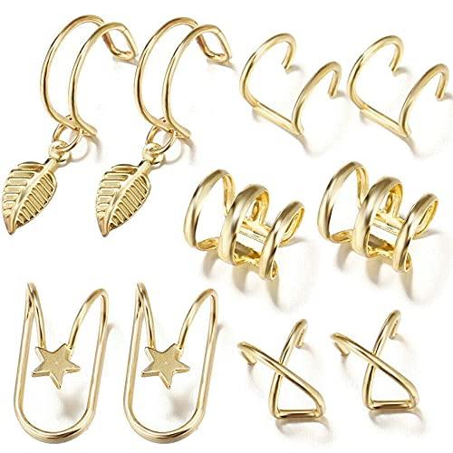 Aloces 10 Stück Ear Cuff Ohrklemme Fake Piercing Ohr Manschette Gold, Non Piercing Clip on Ohr Allergie Verhindern Vintage Ohrringe Knorpel für Männer Damen
