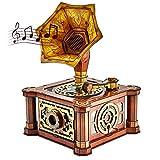 CubicFun Puzzle 3D Phonographe Rétro - Manivelle Manuelle Boîte à Musique Model Kits, Cadeaux en Décoration pour Femmes et Hommes, Cadeau Fete des Meres et Peres 66 Pièces