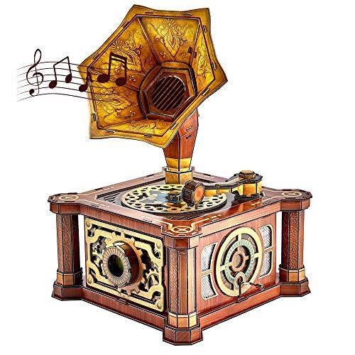 CubicFun 3D Puzzles Adult Gramophone Music Box Model Craft Kits Birthday Gifts for Her Him Girls Boys Women Men