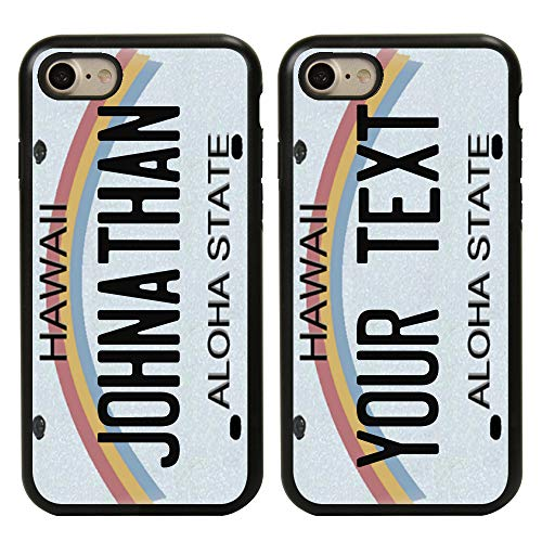 Guard Dog Cool Custom Hawaii License Plate Cases for iPhone 7/8/SE Personalized – Create Your Own License Plate on a Hybrid Phone Case (Black)