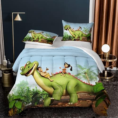 KGHANY Juego de funda de edredón doble – Juego de cama de microfibra con 2 fundas de almohada, fundas de cama de dinosaurio para niños, 200 x 200 cm + 2 fundas de almohada de 50 x 75 cm – D0.4
