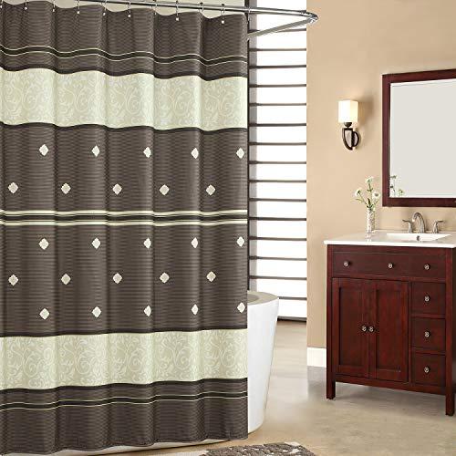 SDLIVING Seville Duschvorhang aus Polyester & Mikrofaser, bronzefarben, bedruckt, Schokoladenbraun, dekorativ, wasserdicht, 183 x 183 cm (B x H)