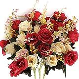 Flores Artificiales,Flores Artificiales de para Exteriores Flores de Seda Rosa Falsa decoración 6 Rama 12 Cabezas decoración para Mesa Home Office 3 Paquetes (Rojo)