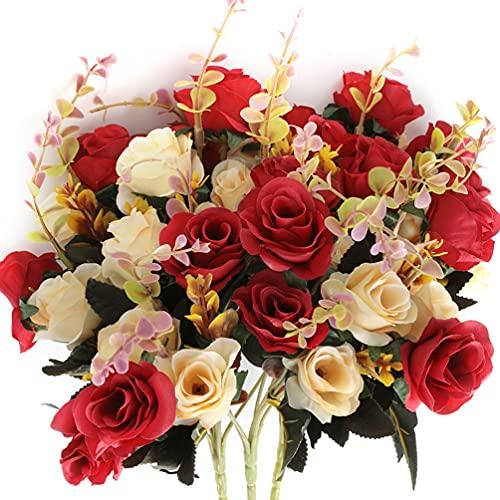 Fiori Artificiali,bouquet fiori artificiali mazzo fiori finti seta Rose Artificiali Blu 6 Ramo 12 Teste Bouquet Decorativo per balcone interno (Rosso)
