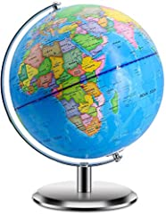 DESKTOP WORLD GLOBE--The size of this world globes for kids is 30 x 24 cm / 12 x 9.5 inches (H x L), stand width: 16 cm / 6.3 inch, Sphere: 25cm / 10inch, map scale: 1:55,900,000. Great learning tool for home, office, school, living room and bedroom ...