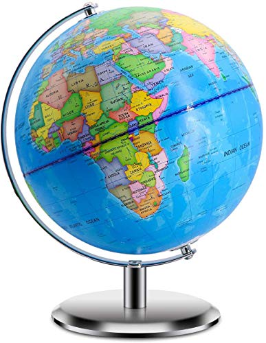"World Globes for Kids - Size 9"" Educational World Globe with Stand Adults Desktop Geographic Gobles Discovery World Globe Educational Toy for Children - Geography Learning Toy (Blue)"