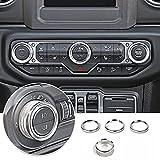 Voodonala Air Conditioner Headlight Switch Knob Trim for 2018-2021 Jeep Wrangler JL JLU Gladiator JT, Silver Aluminum Alloy 4pcs