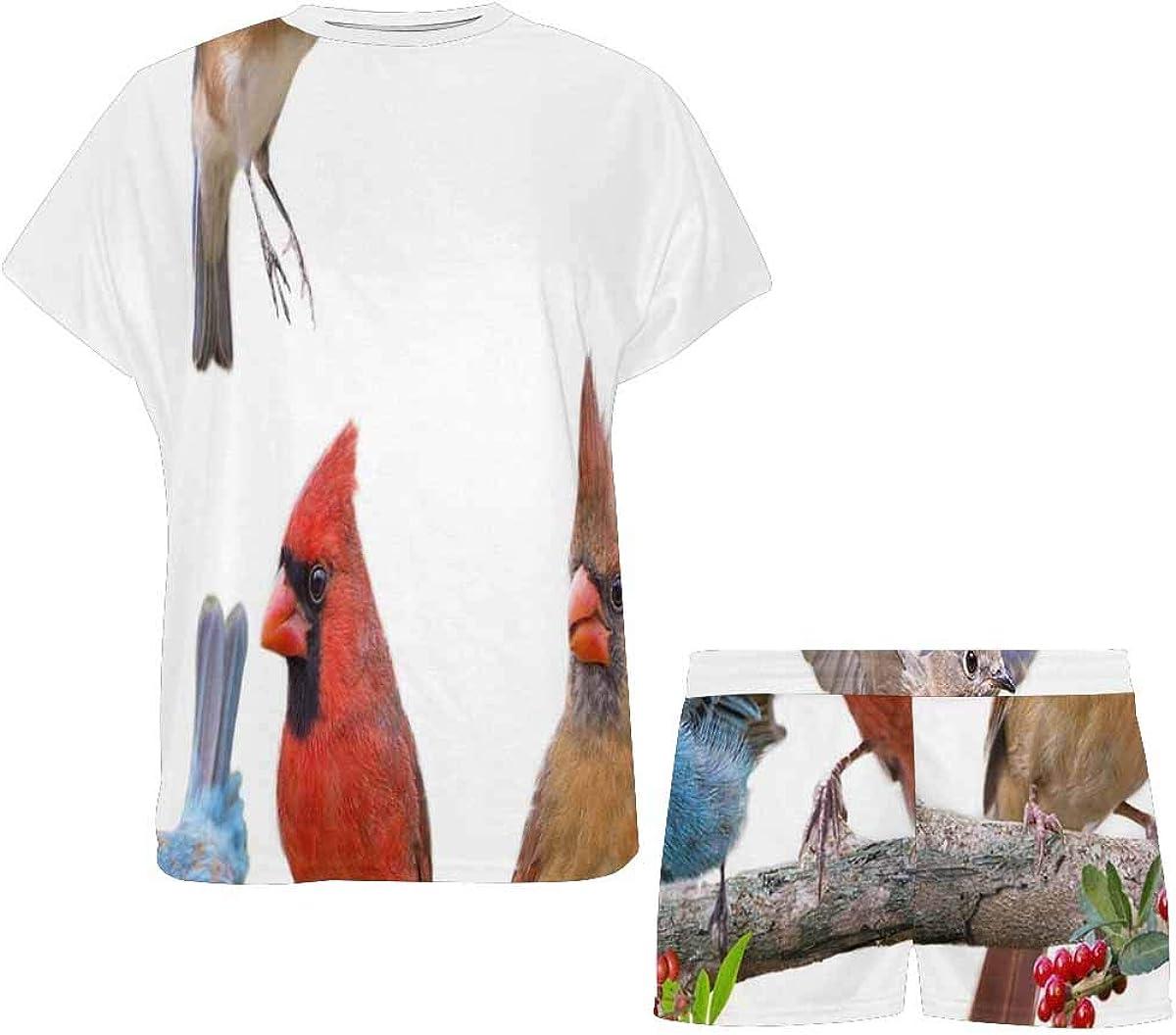 INTERESTPRINT Song Bird Celebration Women's Lightweight Pajama Set, Short Summer Pjs