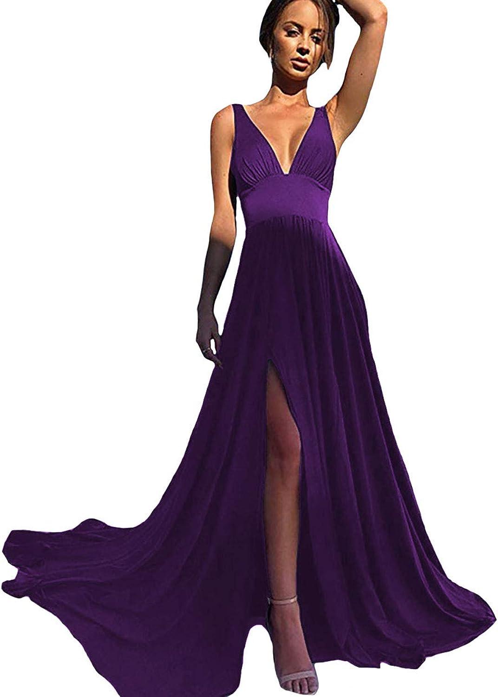 IVYPRECIOUS Women's V Neck A Line Long Prom Dresses Side Split Bridesmaid Dresses Spandex