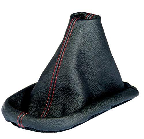 Inter-Sale L&P A0031 Soufflet Sac Manchette Manchon de Commutation 100% Cuir véritable veritable Noir Noire Couture Fil Rouge Transmission Manuelle boîte Boite Vitesse Vitesses Changement Vitesse