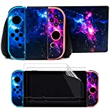 Taifond The Dazzling Galaxy Decals Stickers Set Faceplate Skin +2Pcs Screen Protector for Nintendo Switch...