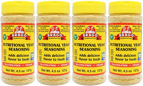 Bragg Nutritional Yeast Seasoning – Vegan, Gluten Free Cheese Flakes – Good Source of Protein & Vitamins – Nutritious Savory Parmesan Cheese Substitute – Non GMO Verified, 4.5 ounce, 4-Pack