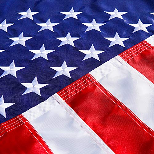 American Usa Us Flag 3x5 ft - Deluxe Embroidered Stars, Heavy Duty Durable Flags Built for Outdoors, Vivid Color, Sewn Stripes, Brass Grommets, Double Stitched UV Protection Perfect for Outside