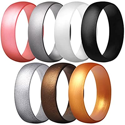 ThunderFit Silicone Rings, 7 Pack Wedding Bands for Men & Women (Black, Bronze-Women, Gold, Pink Metallic, White Pearl, Silver, Bright Silver, 7.5-8 (18.2mm))